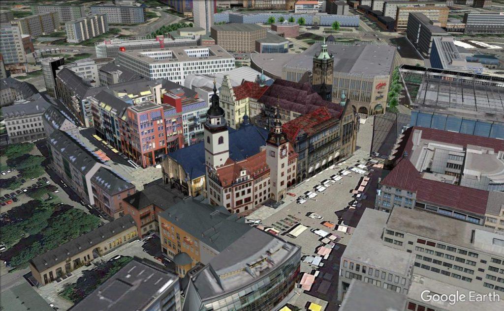 Markt von Chemnitz in Google Earth