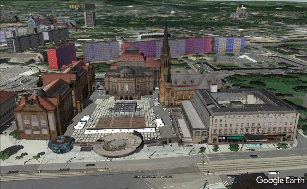 Opernplatz von Chemnitz in Google Earth