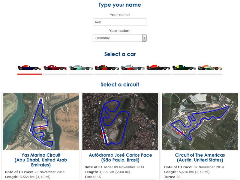 Strecken- und Fahrzeugauswahl