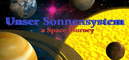 "Cover image of the Multimedia application ""Our solar system - a Space Journey""."