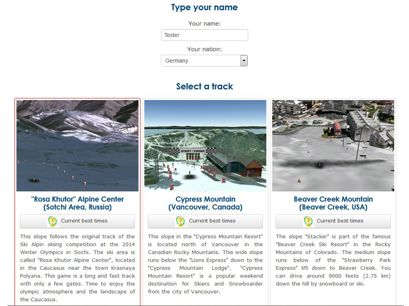 "Start menu - Google Earth API game ""Snowboarding"""