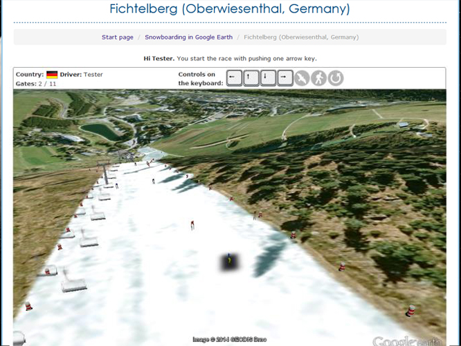 "Screenshot of the Google Earth API game ""Snowboarding"""
