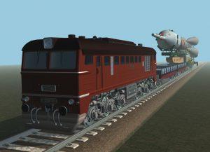 Rendering des Sojus-Transportzuges