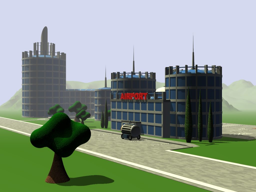Flughafengebäude auf dem grünen Mars