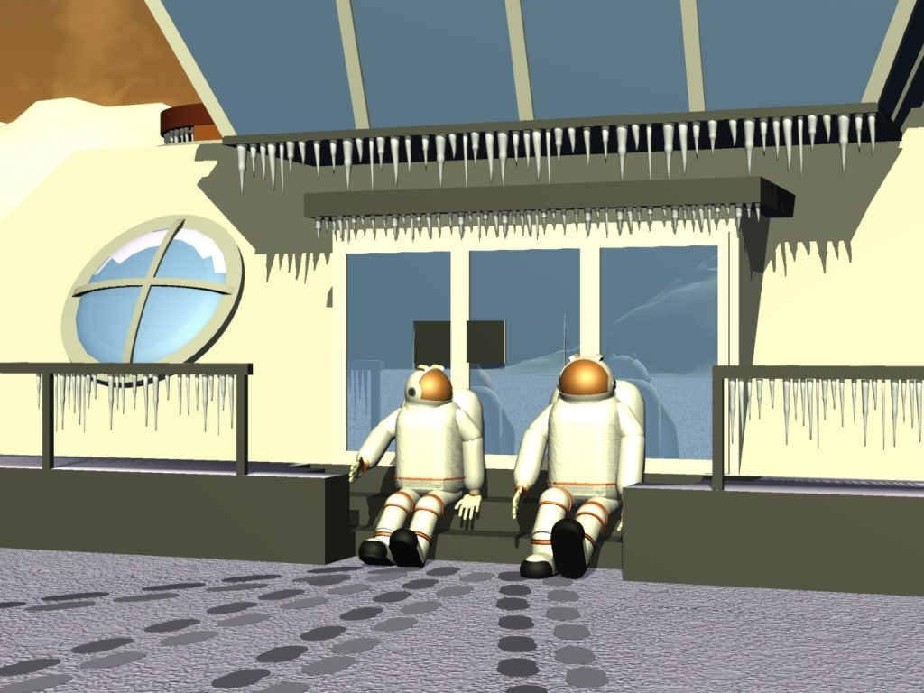 Plauderrunde am vereisten Nordpol des Marses